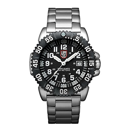 Luminox Navy SEAL Steel Colormark Men's Quartz watch with Black dial featuring LLT Luminox light Technology 44 millimeters Stainless Steel case and Silver Stainless Steel Bracelet XS.3152.NV