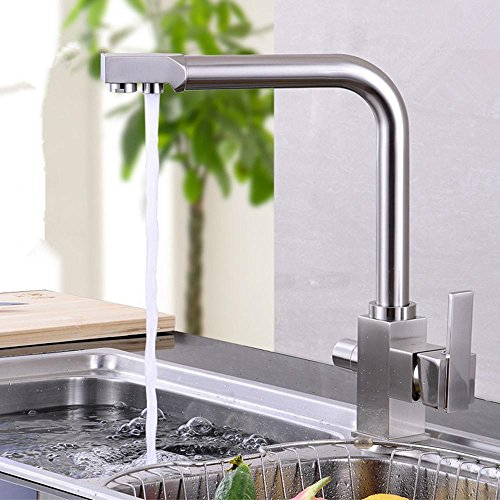 Preisvergleich Produktbild zhongs alle-Kupfer Double-Loch Töpfe und Wasserhähne drehbar HOT und COLD Wasserhahn, round tube chrome plating