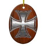 Ornamente für Weihnachtsbaum Stahl Holz Malteser Oval Dekorative Ornament, Zum Aufhängen Xmas Geschenk