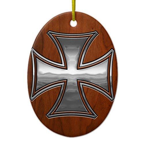 Ornamente für Weihnachtsbaum Stahl Holz Malteser Oval Dekorative Ornament, Zum Aufhängen Xmas Geschenk -