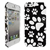 LOVE MY CASE / Apple iPhone 5 / Stylish Black & white Paw Print Hard Case, Cover, Skin + Screen protector