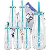 Bormioli–Set di 6bottiglie di vetro con coperchio e cannuccia, con quaderno per ricette–azzurro a quadretti–400ml borraccia/bicchiere con rilievo–per succhi, frullati e altre bevande