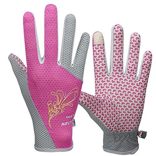Jamkf Handschuhe Damen Frühjahr und Sommer Sonnencreme Reithandschuhe Zeigefinger Touchscreen Outdoor rutschfeste, hochelastische, atmungsaktive, dünne Vollfingerhandschuhe (Color : Pink)