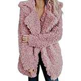 AMUSTER Damen Warme Kunstwolle Mantel Jacke Revers Winter Oberbekleidung Damen Mantel Jacke Plüsch Winter Stepp Warmen Oversize Boyfriend Outwear Cardigan Einfarbig Parka