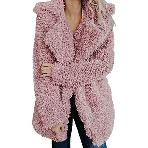 (AMUSTER Damen Warme Kunstwolle Mantel Jacke Revers Winter Oberbekleidung Damen Mantel Jacke Plüsch Winter Stepp Warmen Oversize Boyfriend Outwear Cardigan Einfarbig Parka)