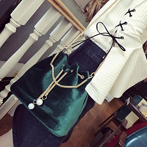 Donna Fashion Solid Borsetta Coulisse Pu Borsa In Pelle Spalla Tote Signore Borsa di Kangrunmy Verde