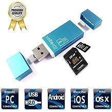 iThird Lector de tarjetas, 3 en 1, lector de tarjetas Micro-SD/SD, lector de memoria con , Puertos Lightning USB Android OTG ,para iPhone, Samsung, iPad, Mac, PC, (tarjetas no incluidas)