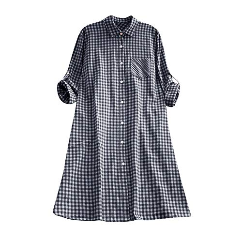 MCYs Frauen Casual Bequem Plaid Tunika Button Down Langarm Pocket Shirt Maxi Mini kleid Elegante Partykleid (Plaid Pocket Kleid Shirt)
