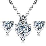 Gemini _mall elegantes Schmuck-Set in Herzform für Frauen, Kristallanhänger, Halskette, Ohrringe Einheitsgröße weiß