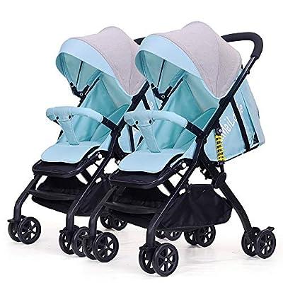 Strollers NAUY @ Cochecito de bebé Gemelo, Plegable Ligero Plegable Carro de bebé Doble Mejorado de la amortiguación de Choque Sillas de Paseo