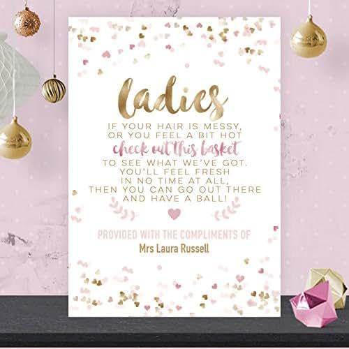 Personalised Ladies Toiletry Bathroom Basket Wedding Sign