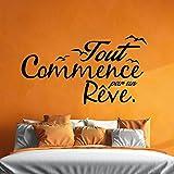 Sticker 'Tout Commence par un Rêve' Noir - 55 x 110 cm