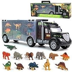 Dinosaurio del Juguete Camión de Transporte Transportador Coches con 12 Figuras de Juego de Dinosaurios de Dinosaurio Plásticos Educativo Juguete para Niños