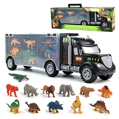 Pilego Giocattoli Dinosauri - Camion del Trasportatore Giocattoli del Camion con 6 Mini Dinosauri e 6 Animali Giocattoli per Bambini 3 4 5 6 Anni