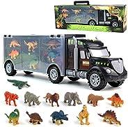 Dinosaurio del Juguete Camión de Transporte Transportador Coches con 12 Figuras de Juego de Dinosaurios de Din
