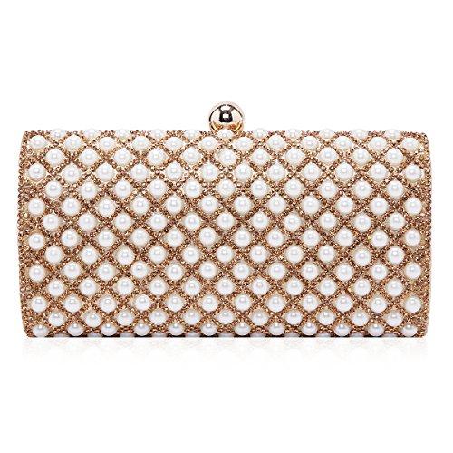 Brillante strass perla festa matrimonio Damara la sera per catene borsa, Nero (nero), Medium Oro (oro)