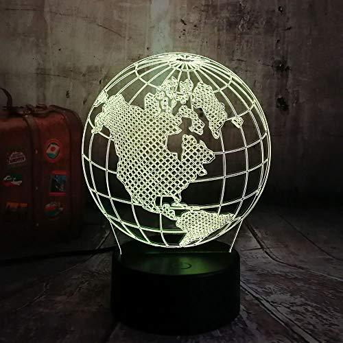 Neuheit Globus Karte Von Amerika 3D Led Nachtlicht Multicolor 7 Farben Usb Tischlampe Home Decor Weihnachtsgeschenk 3D Nachtlicht
