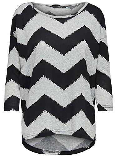 ONLY Damen Oversize Pullover Shirt ELCOS Zigzag 3/4 TOP schwarz grau (S)