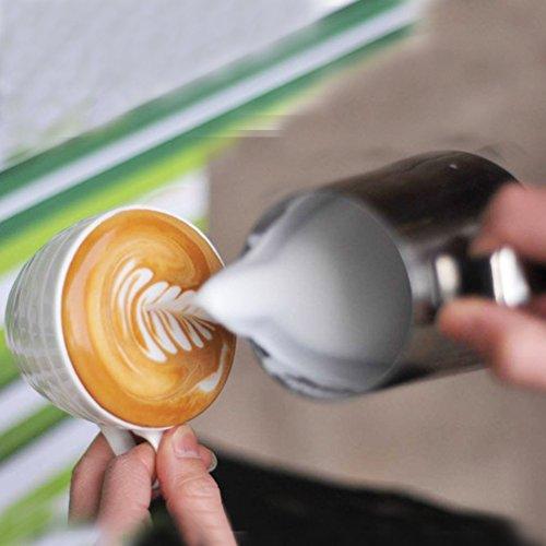 Pull Flower Tasse, Edelstahl Milk Krug, Milchaufschäumkännchen, Ziehblume Cup Kochen Werkzeuge Home Küche Zubehör für die Herstellung von Kaffee Cappuccino 600 ml silber (Pulls Küche Tasse)
