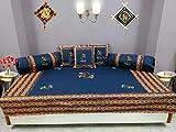 Bright Cotton Diwan Set Design Embroidery Patchwork Garba Dance Divan Set Cotton Blue DIVAN104-2