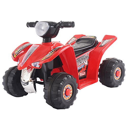 Costway Kids Ride On Quad Bike 6V Electric Battery Car Toys Children Black Red (Red)