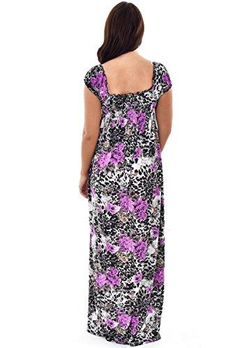 Nightingale Collection Grande robe d'été à manches courtes pour femme Imprimé léopard floral Multicolore - Bigarré