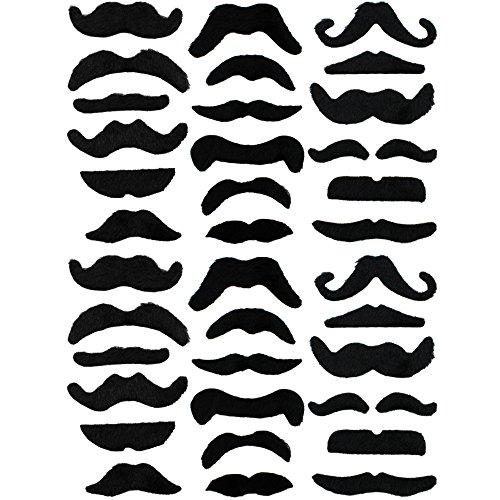 COM-FOUR® 36-teiliges Schnurrbart Set aus falschen Schnurrbärten, selbstklebend, nur einmal nutzbar (Kostümen Und Mit Schnurrbärten)