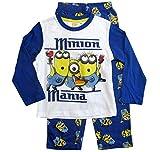Die Minions Schlafanzug Ökotex Standard 100 Jungen (Weiß-Blau, 122-128)