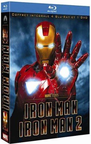 Iron Man + Iron Man 2 - Coffret 2 Blu-ray + 2 Blu-ray bonus + 1 DVD + 1 copie digitale