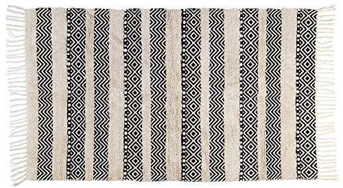KASA Tapis Moderne, Motif Ethnique avec des Rayures, Crème et Noir, 150x90 Centimètres
