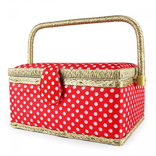 Leogreen - Panier à Couture, Boîte à Couture Portable, 24 x 17,5 x 13 cm, Pois Blancs/Rose, Dimensions: 24 x 17,5 x 13 cm