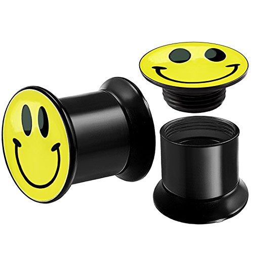 2 Stück Tunnel Mit Innengewinde Schraube Smiley LOGO Plugs Dehnstab Flesh Ohr Piercing Ohrtunnel \\Dehnstäbe Ohrschmuck Acryl Plug Schwarz Dehnen Dehner C3XCK - 8mm