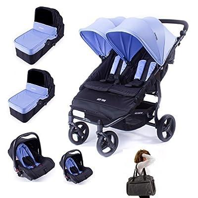 Baby Monsters Silla gemelar EASY TWIN 2.0 + 2 capazos + 2 Grupo 0 + 2 Adaptadores + Bolso gemelar ( Danielstore ) Color a elegir