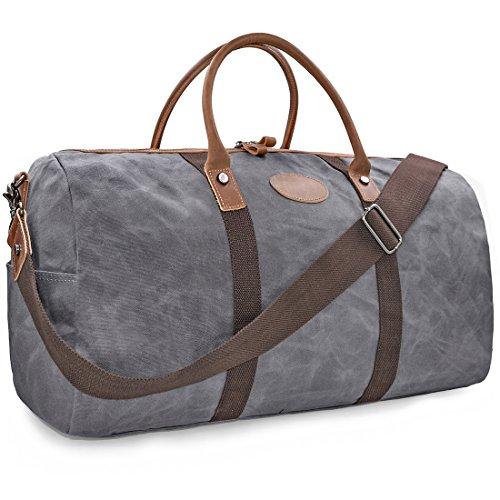 NEWHEY Vintage Reisetasche Leder Wasserdicht Canvas Unisex Handgepäck Weekender Tasche Stoff Duffle Bag Groß Wochenend Tasche Herren Damen Grau (Leder-weekender-tasche)