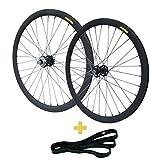 RIDDOX 700C 28 Zoll Laufradsatz Laufräder Fixie Singlespeed Hochflansch Fixed Gear Wheel Schwarz Matt 40 MM