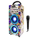 Altavoz Bluetooth Karaoke con Micrófono Radio FM Portátil Inalámbrico USB TF Card Recargable con Remoto