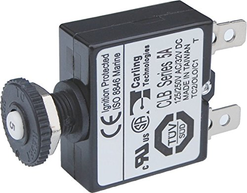 Blue Sea Systems Push Button Reset-only CLB A-Quick Connect Terminals, blau, 5 Amp - Quick Connect Batterie