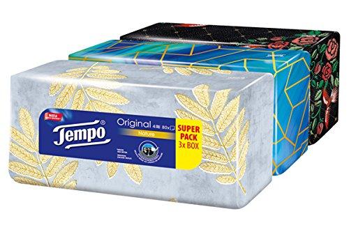 Tempo Taschentücher Original Trio-Box, 4-lagige Tempos in praktischer Tücherbox mit tollem Design, 3 x 80 Tücher (240 Tücher) (Gewerbliche Waschmaschine)