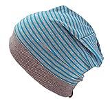 WOLLHUHN ÖKO Beanie-Mütze türkisblau-grau gestreift (aus Öko-Stoffen, bio) für Jungen und Mädchen, Größe: S