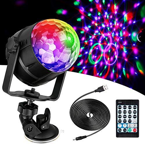 Anpro 15 Colores Luces Discoteca Giratoria,Bola LED de Discoteca,Disco Luz USB, Controlada por Control...