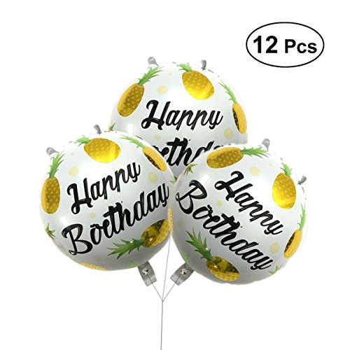 BESTOYARD 12pcs Folienballon Partyballons Obst Ananas Ballons Hawaiian Luau Party Dekoration (Gold) -