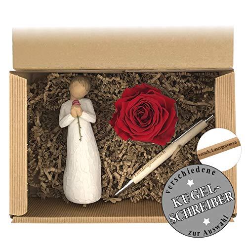 Geschenkset 2-teilig/Willow Tree Figur/Long Life Rose/Kugelschreiber mit Gravur/Muttertag / Geburtstag/Geschenk / Frauen/Männer / Sternzeichen 12
