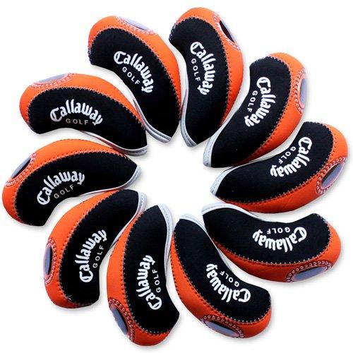 Callaway golf Schlägerkopfhüllen Golf Eisen deckt Eisenhauben 10pcs/set MT/C08 schwarz/orange (Deckt Eisen Golf Neopren)