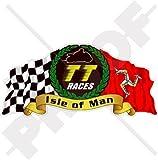Isle Of Man TT Race Mannois Moto GP Racing 10,2cm (100mm) en vinyle bike-helmet Sticker, autocollant