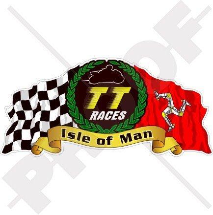 Isle Of Man TT Race Mannois Moto GP Racing 15,2 cm (150 mm) en vinyle bike-helmet Sticker, autocollant
