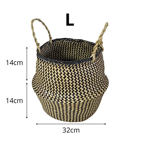 Kleiner natürlicher gewebter Seegras-Korb, Tote-Bauch-Körbe für Lagerung, Wäscherei, Picknick, Blumentopf-Abdeckung und Strand-Tasche, (Schwarzes L)