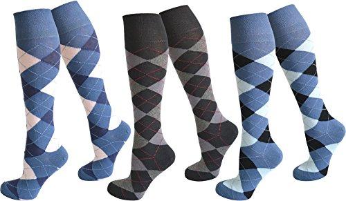 normani 3 Paar Kniestrümpfe für Teenager und Damen im Karo Design Farbe Farbset2 Größe 35-38