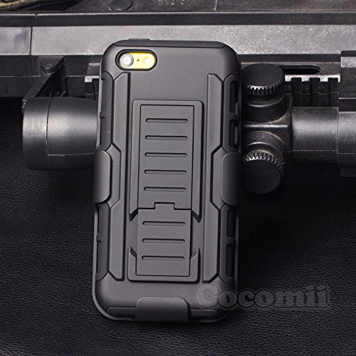iPhone 5C Coque, Cocomii Robot Armor NEW [Heavy Duty] Premium Belt Clip Holster Kickstand Shockproof Hard Bumper Shell [Military Defender] Full Body Dual Layer Rugged Cover Case Étui Housse Apple (Bla Black