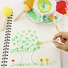 PINDIA Sponge Paint Brush with Wooden Handle for Kids - Set of 4