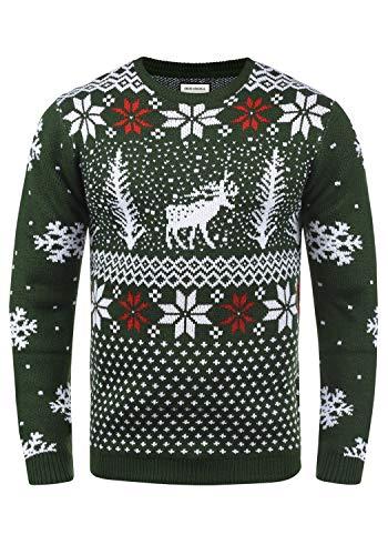 SHINE Original Pingo Herren Weihnachtspullover Winter Pullover Strickpullover Weihnachtspulli mit Rundhals-Ausschnitt, Größe:M, Farbe:Green